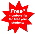 This graphic has white text reversed out of a red background and reads 'Free membership for first year students