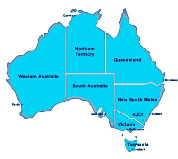 Speech Pathology Australia is a membership organisation with a federated structure. This graphic is a map of Australia showing the various states and territories