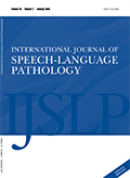 This is the cover of the special issue of the International Journal of Speech-Language Pathology.