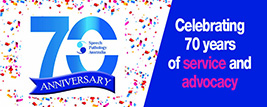 "This image is of the 70th anniversary email signature. It has the 70th anniversary logo to the left and then the words ""celebrating 70 years of service and advocacy"" to the right."