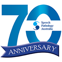 This is the Speech Pathology Australia 70th anniversary logo. It has the number 70 in blue with a ribbon with the word 'anniversary' rervised out of it.