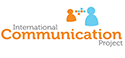 This is the logo of the International Communication Project.  It carries the words International Communication Project and two symbolised people communicating with each other. One is coloured orange,the other light blue.