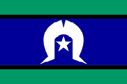 The Torres Strait Islander Flag is an official flag of Australia, and is the flag that represents Torres Strait Islander people. The green panels at the top and the bottom of the flag symbolise the land, while the blue panel in the centre represents the waters of the Torres Strait. The thin black stripes between the green and blue panels signify the Torres Strait Islanders themselves. The white five-pointed star at the centre of the flag represents the five major island groups—the Western, Eastern, Central, Port Kennedy and (N.P.A.) Mainland—and the white dhari (dancer's headdress) around it also symbolises the Torres Strait Islands people. White symbolises peace, while the star is a symbol for navigation.
