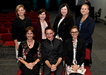 This is a photograph of the Board of Directors of Speech Pathology Australia elected at the Association's Annual General Meeting in May 2018. Three are three directors seated in the front row, with the other four standing directly behind them.